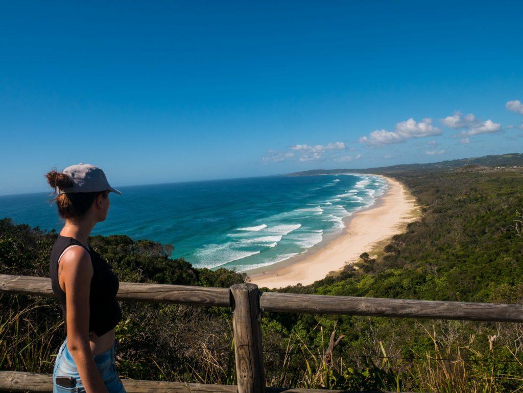 Ausblick über den Strand von Byron Bay, ein Highlight auf meinen Roadtrip